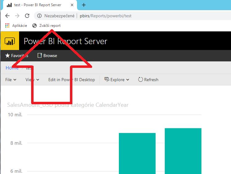 Power BI Report Server tlačítko fullscreen - na celú obrazovku
