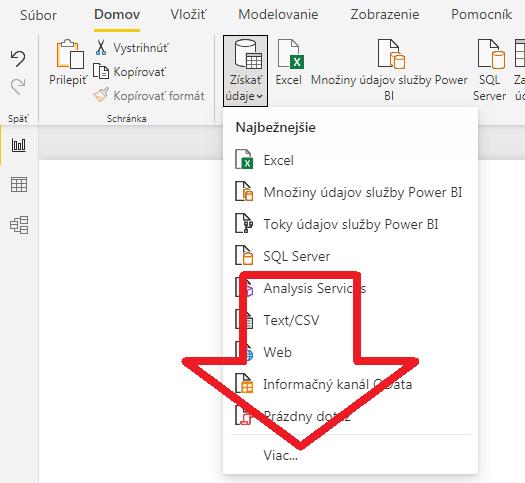 """Nové menu Power BI Desktopu - tlačítko """"Získať údaje"""""""