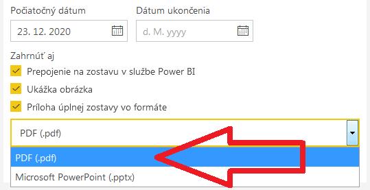 Power BI - možnosť posielať reporty vo formáte PDF