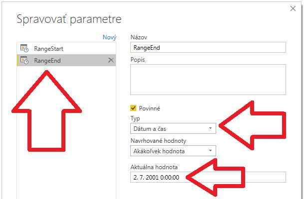 Inkrementálna aktualizácia dát v Power BI - parametre v Power Query