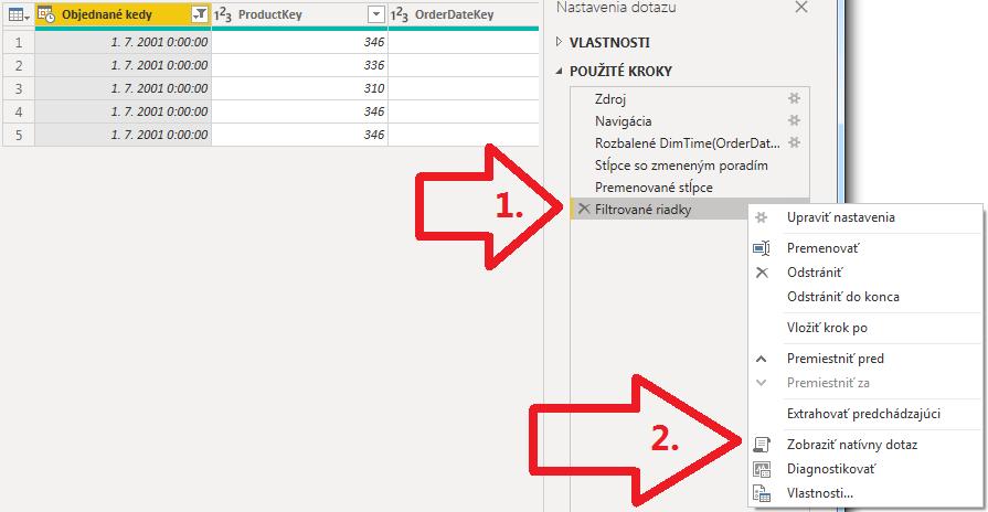 Inkrementálna aktualizácia dát v Power BI - overenie query foldingu v Power Query