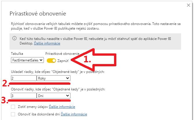 Inkrementálna aktualizácia dát v Power BI - zapnutie